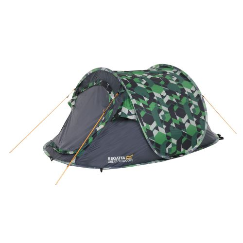 Malawi 2-Man Pop Up Festival Tent Green Geometric Print